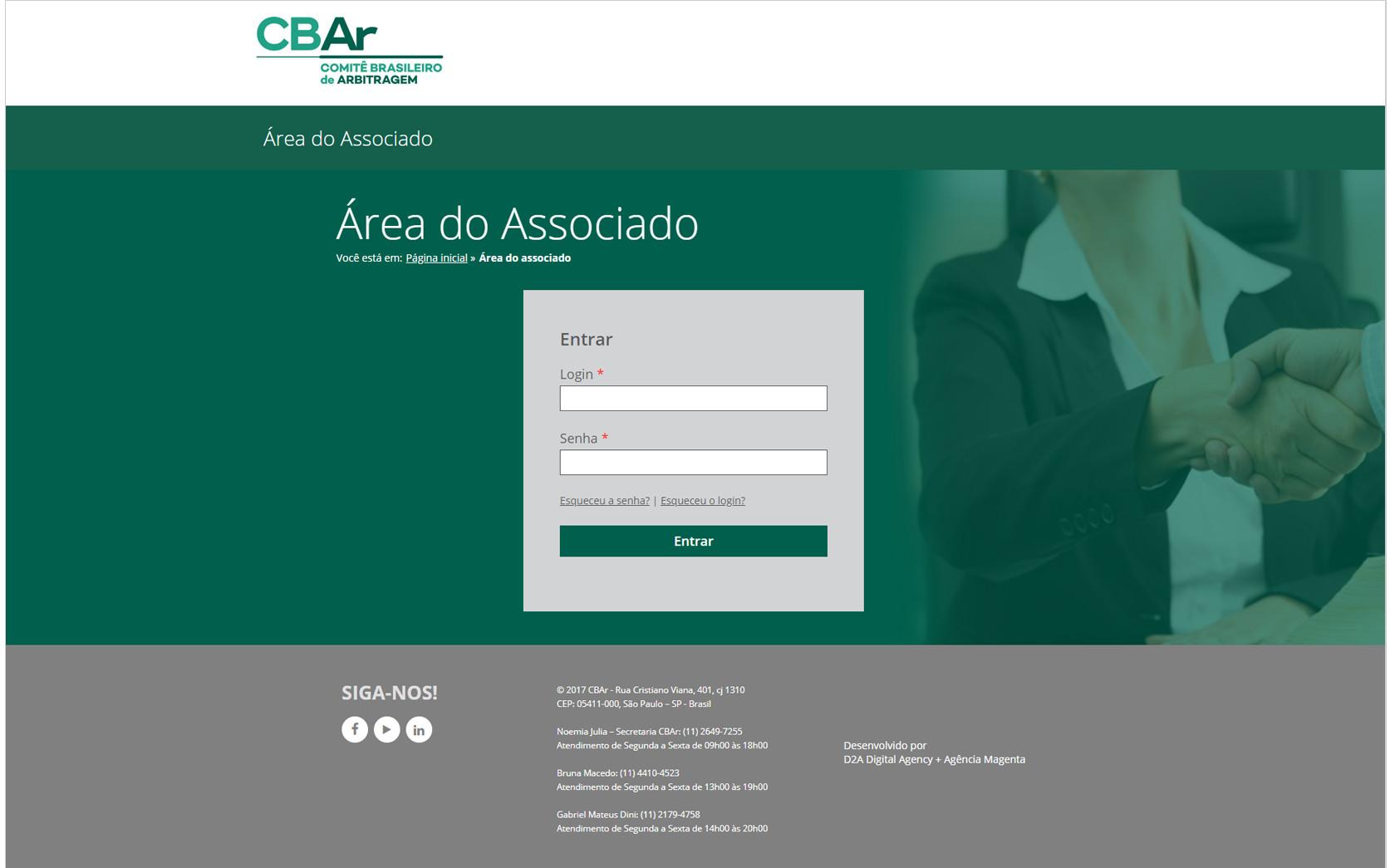 CBAr Área do Associado portal online desenvolvido pela D2A Marketing Digital