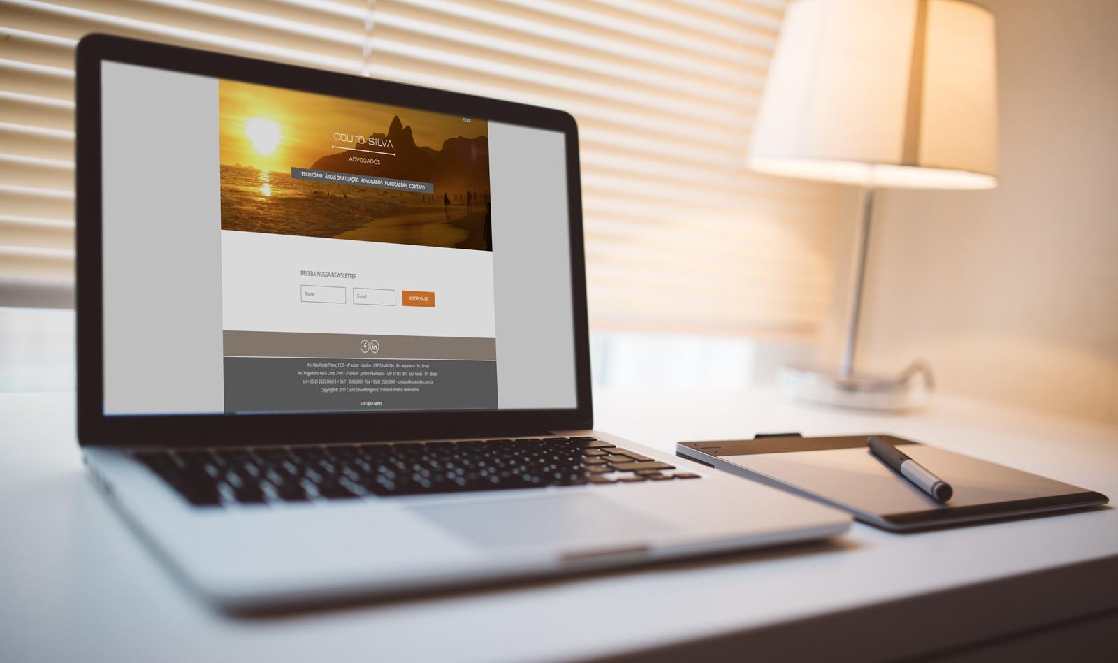 Couto Silva Advogados. Novo site institucional criado pela agência D2A Digital Agency.