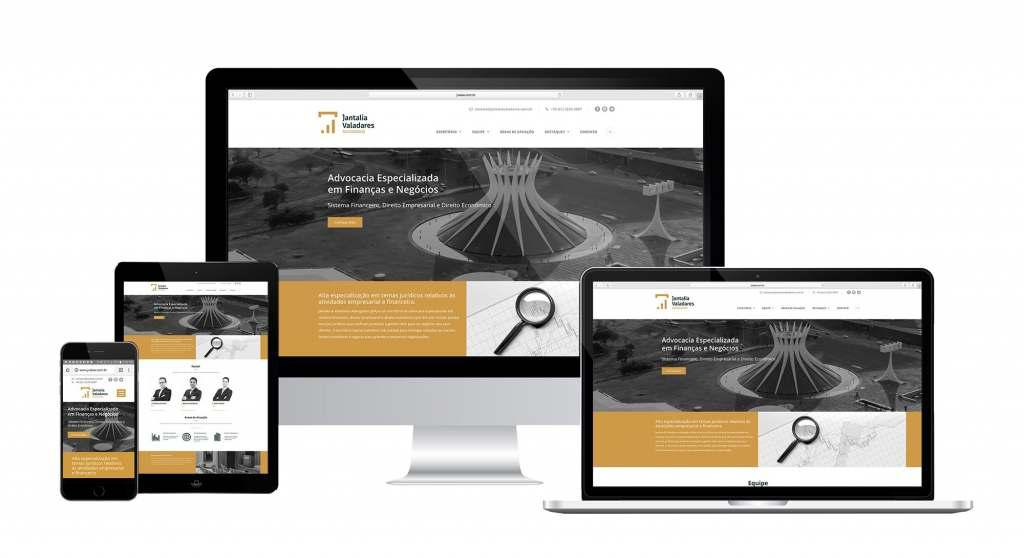 Jantalia & Valadares Advogados. Site responsivo em WordPress criado pela agência D2A Digital Agency